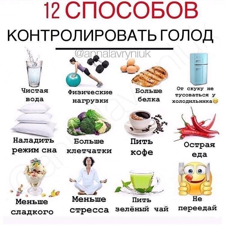 12 способов контролировать голод🔥