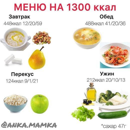 • МЕНЮ на 1300 ккал •